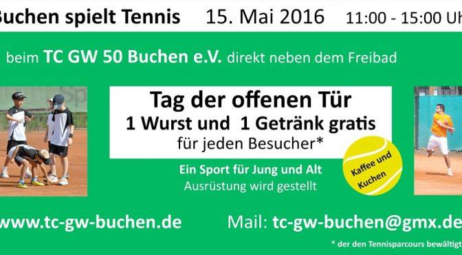 Buchen spielt Tennis